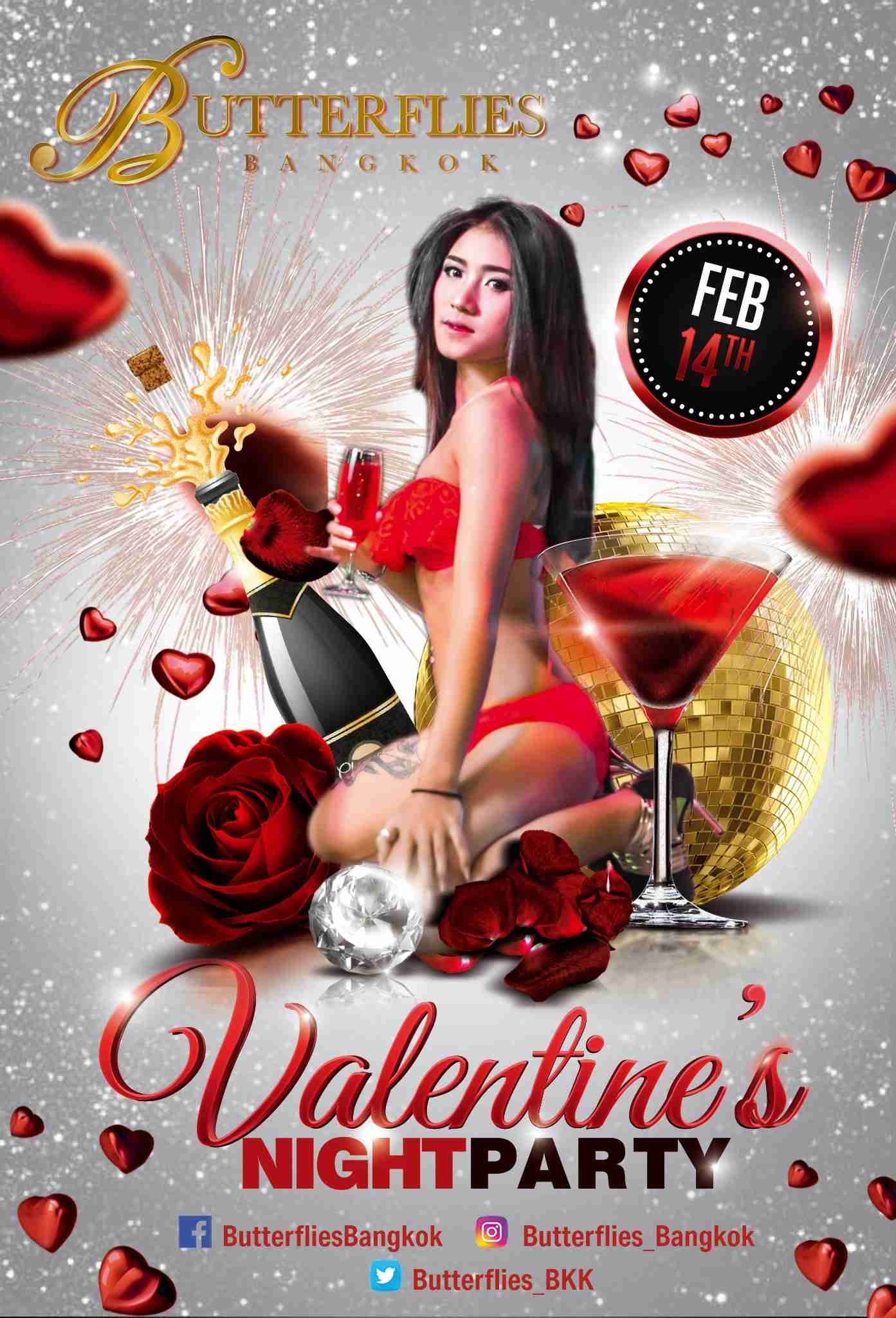 Butterflies Bangkok Valentine's Party Thailand Nght Day
