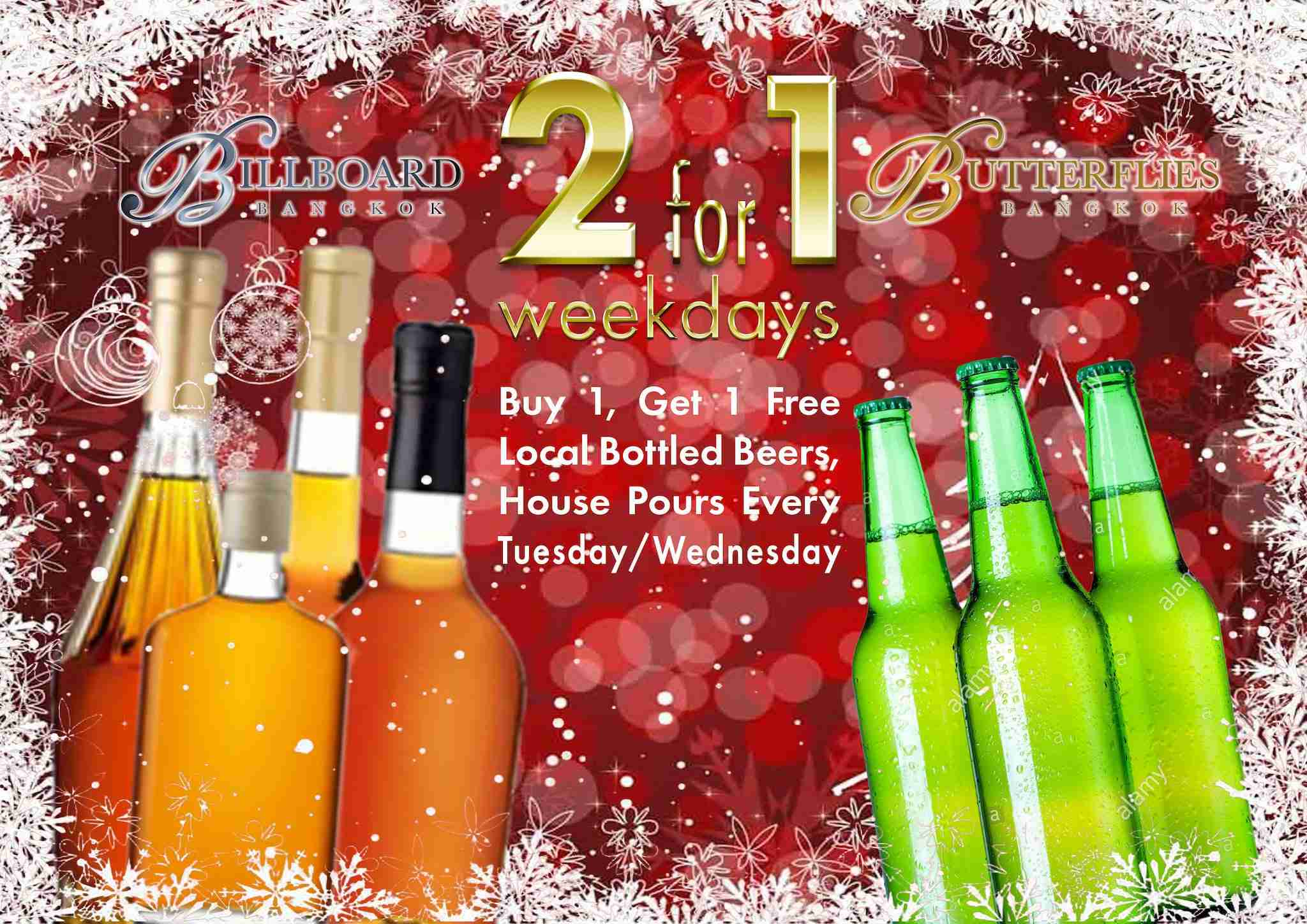 2-for-1 Weekdays Brings Buy 1, Get 1 Free Drinks to Butterflies Tuesdays, Wednesdays